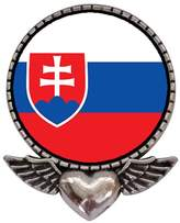GiftJewelryShop Ancient Style Silver Plate Slovakia flag Heart With Angel Wings Pins Brooch