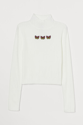H&M Fitted Mock-turtleneck Sweater - White