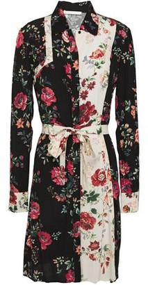 Maje Belted Printed Floral-print Crepe Mini Dress