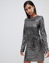 Club L London tie front metallic long sleeve dress