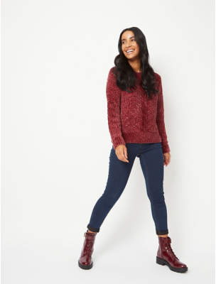 George Burgundy Chenille Cable Knit Crew Neck Jumper