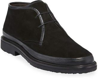 Ermenegildo Zegna Men's Trivero Suede Chukka Boots with Mud Guard, Black