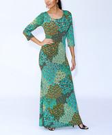 Modern Touch Women's Maxi Dresses - Green Abstract Leaf Maxi Dress - Women