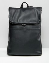 Asos Backpack In Faux Leather With Fold Over Top