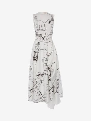 Alexander McQueen Dancing Girl Asymmetric Midi Dress