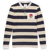 Kent & Curwen Appliquéd Striped Cotton-Jersey Polo Shirt