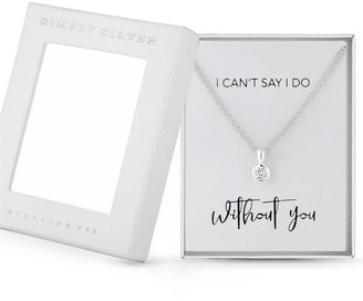 Simply Silver Cubic Zirconia Besel Set Round Pendant in Gift Box