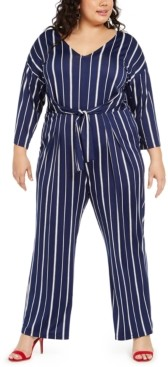 NY Collection Plus Size Printed Tie-Front Gaucho Jumpsuit