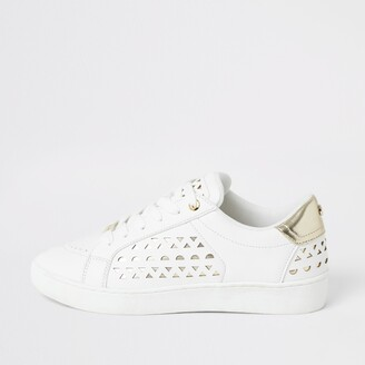 River Island Womens White cutout lace-up trainers