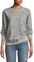 The Great The College Sweatshirt w/ Floral-Embroidery