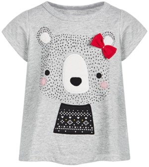 First Impressions Baby Girls Holiday Bear T-Shirt, Created for Macy's