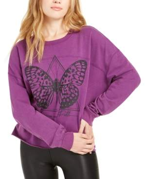 Rebellious One Juniors' Butterfly Graphic Sweatshirt