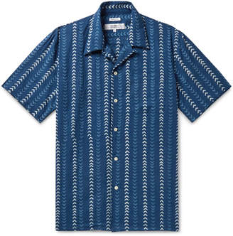Freemans Sporting Club Camp-Collar Indigo-Dyed Printed Cotton Shirt