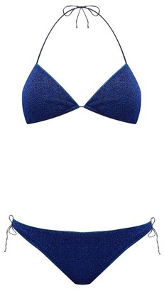 Oseree Lumiere Metallic Triangle Bikini - Womens - Blue