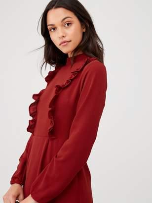 AX Paris High Neck Ruffle Dress - Red
