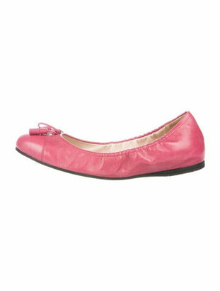 Prada Leather Bow Accents Ballet Flats Pink
