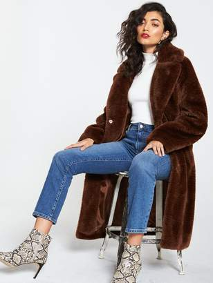 Very Long Faux Fur Coat - Toffee