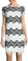 London Times London Style Collection Short-Sleeve Floral Lace Stripe Shift Dress