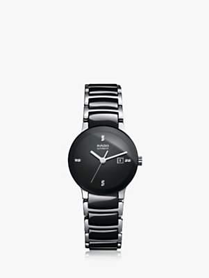 Rado R30942702 Men's Centrix Diamonds Automatic Stainless Steel Bracelet Strap Watch, Black/Silver