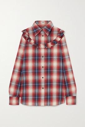 Miu Miu Ruffled Checked Cotton-flannel Shirt - Red