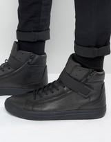 Aldo Weberville Hi Top Sneakers In Black Leather