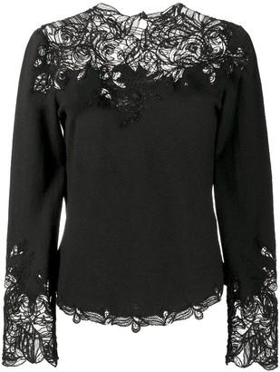 Ermanno Scervino Embroidered Lace-Trimmed Jumper
