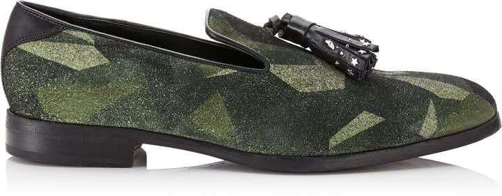 Jimmy Choo FOXLEY Army Mix Distressed Camo Loafers