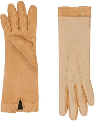 Burberry Silk-Lined Two-Tone Lambskin Gloves