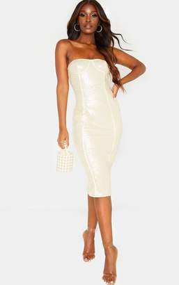 PrettyLittleThing Nude Sequin Binding Detail Midi Dress