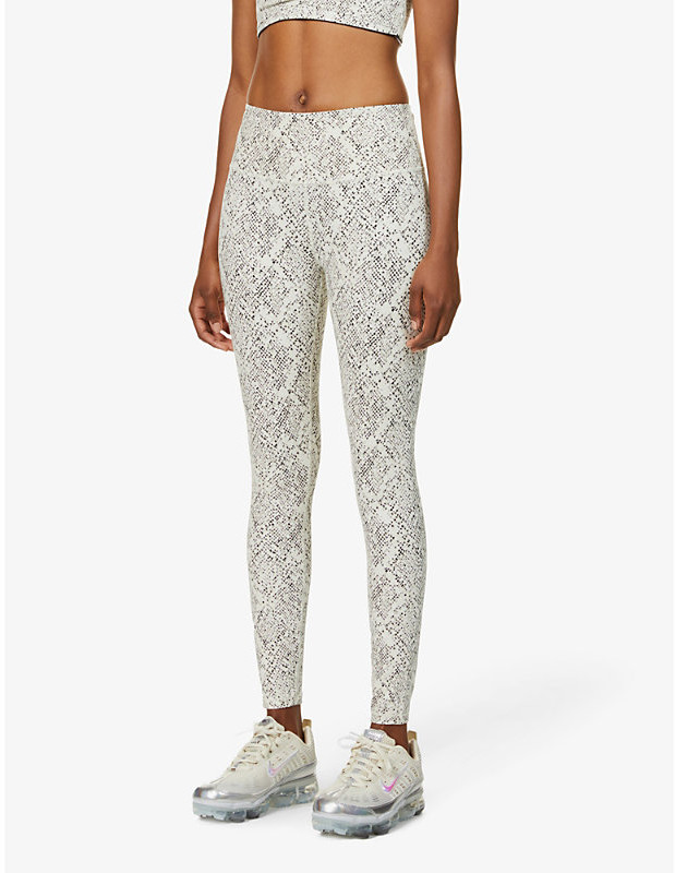 Varley Century snakeskin-print high-rise stretch-woven leggings