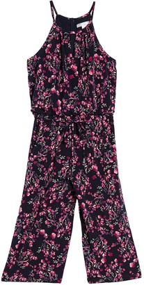London Times Floral Halter Neck Keyhole Crop Jumpsuit (Petite)