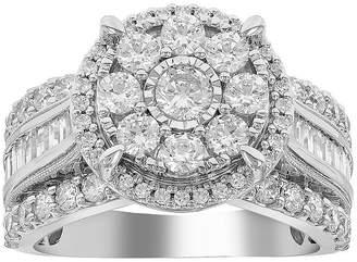 MODERN BRIDE Womens 2 CT. T.W. Genuine White Diamond 10K White Gold Engagement Ring