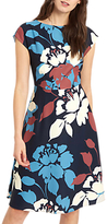 Jaeger Floral Silhouette Fit And Flare Dress, Multi/Navy