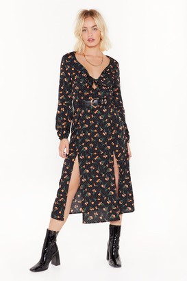 Nasty Gal Womens All the Reasons Tie Floral Midi Dress - Black