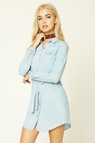 Forever 21 FOREVER 21+ Belted Chambray Shirt Dress