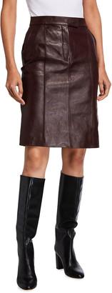 Victoria Victoria Beckham High-Waist Leather Belted Skirt