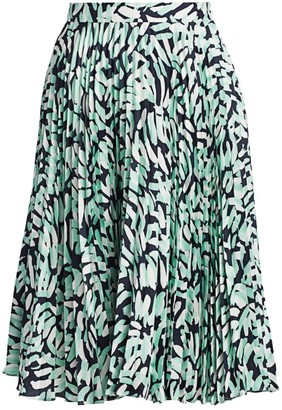Milly Brushstroke Print Pleated Skirt