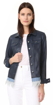 June Leather Jacket With Denim Fringe