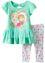 Disney Disney's Frozen Elsa & Anna Tiered Bow Back Tunic & Printed Leggings Set