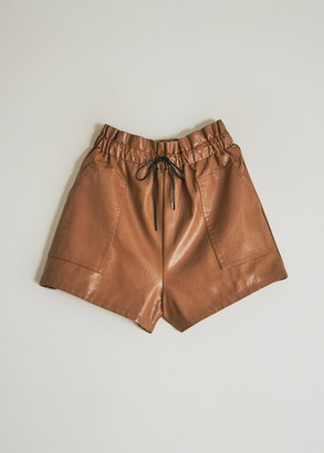 Which We Want Women's Eloise High Waist Short in Camel, Size Small | Leather