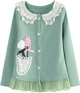 Richie House Girl's Knit Cardigan with Flower Accents and Lace RH1431-A-02-5/6-FBA