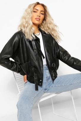 boohoo Funnel Neck Oversized Faux Leather Jacket