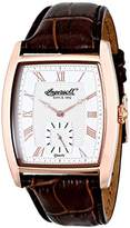 Ingersoll Men's Quartz Watch with White Dial Analogue Display and Brown Leather Strap INQ004SLRS