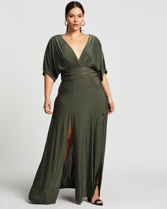Missguided Slinky Plunge Side Slits Maxi Dress