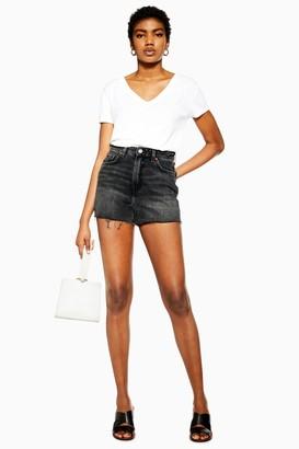 Topshop Womens Black Denim Mom Shorts - Washed Black
