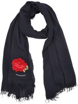 MonnaLisa Embroidered Patch Gauze Scarf
