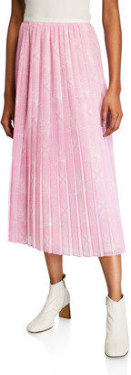 See by Chloe Pleated Floral Midi Skirt