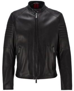 HUGO BOSS Regular-fit leather jacket with stand collar