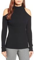 Halogen Rib Knit Cold Shoulder Sweater (Regular & Petite)