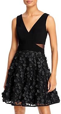 Aqua Floral-Applique Fit-and-Flare Dress - 100% Exclusive